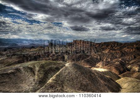 Zabriskie Point at extreme heat, Death Valley, USA, HDR image