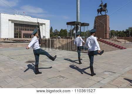 Bishkek, Kyrgyzstan - September 27, 2015: Photo Of The Hourly Guard Shift At The Official Flagpole I