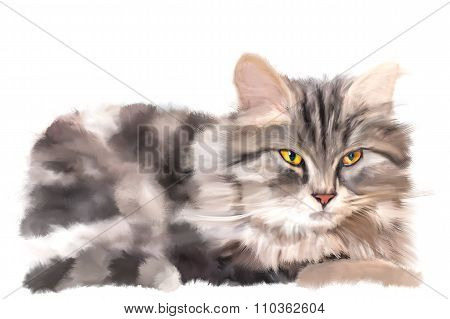 Furry Yellow-eyed Kitten Lying On White Background. Expressive Digital Painting