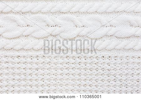 Abstract Knitted Background. Wool White Sweater Texture. Close Up Picture Of  Knitted Pattern.