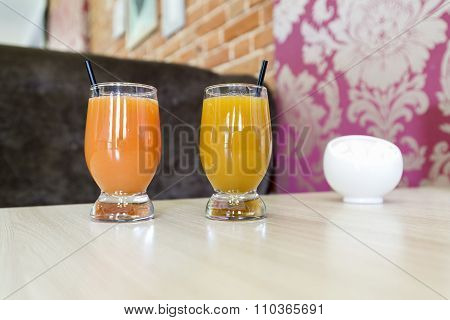 Fruit juice on  table in a cafe