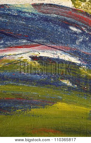 Brushstroke - Yellow,blue,white,green, Red Paint  On Metal Surface