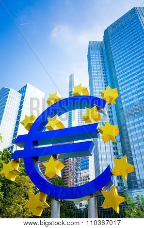 Frankfurt, Germany-May 17 : Euro Sign. European Central Bank (ECB) is the central bank for the euro and administers the monetary policy of the Eurozone. May 17, 2014 in Frankfurt, Germany