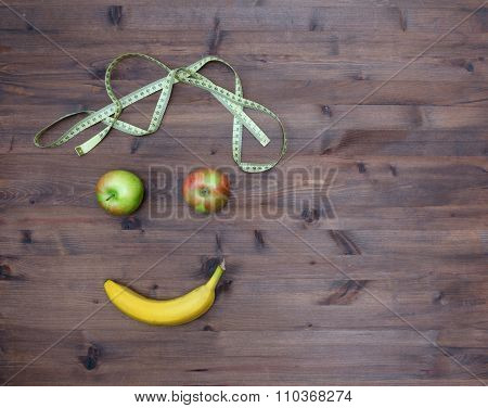 Healthy lifestyle concept. e on wooden table