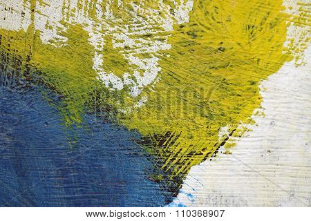 Brushstroke - Yellow,blue,black And White Paint  On Metal Surface