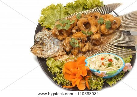 Fired Fish With Fishsauce, Giant Gouramy Fish With Fishsauce