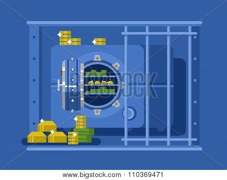 Bank safe flat design