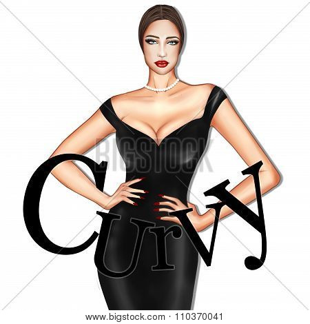Hand drawn Fashion Illustration of model wearing black dress and pearl necklace