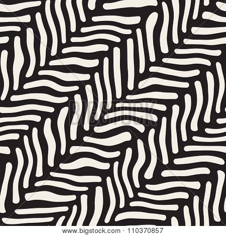 Vector Seamless Black And White Hand Drawn Diagonal Zebra Line Pavement Pattern