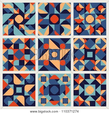Set Of Nine Vector Seamless Blue Orange White Color Retro Geometric Ethnic Square Quilt Pattern Coll