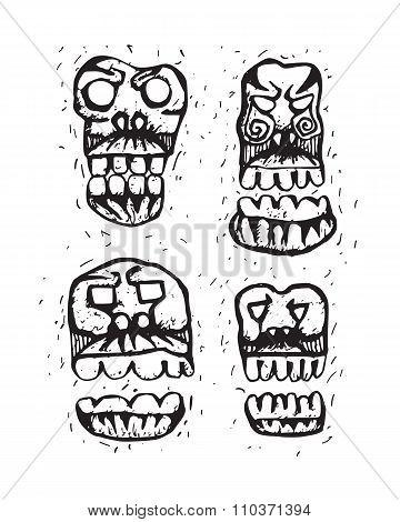 human skulls sketch