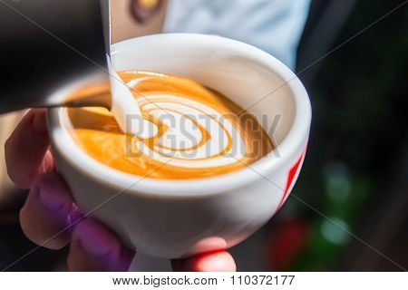 Preparation Of Cappuccino With Decoration