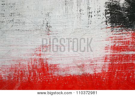 Brushstroke With White,black And Red Paint  On Dusty Metal