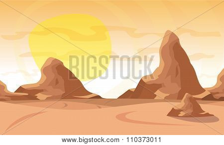 Vector Illustration. Desert Landscape With A Chain Of High Mountains On The Horizon