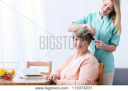 Alzheimer Woman And Carer