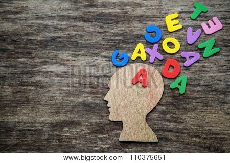 Head silhouette with letters