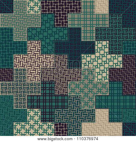Vector Seamless Cross Quilt Patchwork Pattern In Green And Tan Colors