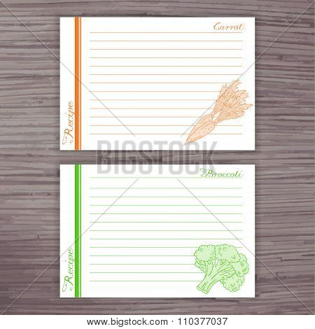 Vector Lined Recipe Card With Vegetables On Wooden Background.  Carrot, Broccoli