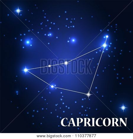 Symbol: Capricorn Zodiac Sign. Vector Illustration.