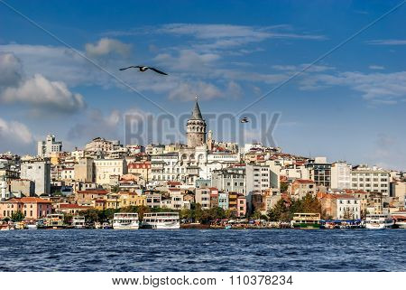 Istanbul skyline with Golden Horn and Galata tower from Eminönü in Istanbul, Turkey.
