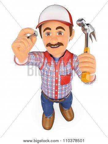 3D Handyman Hammering A Nail With A Hammer