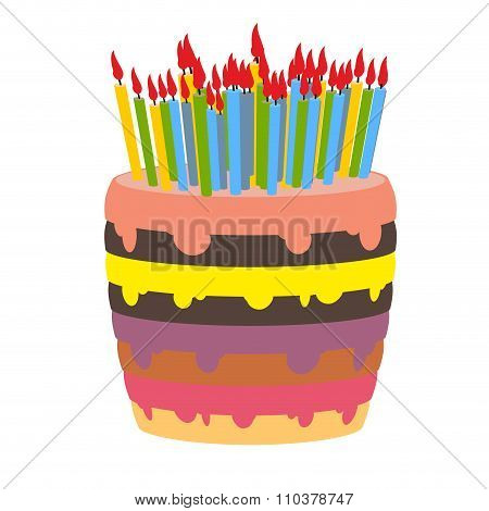 Birthday Cake And Lots Of Candles. Burn  Lot Of Candles. Sweetness For Holiday. Beautiful Confection