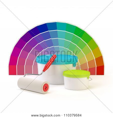 Pantone color palette, paint roller and cans of paint.