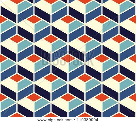 Vector Seamless Geometric Tiling Pattern In Blue And Orange Colors With White Outline