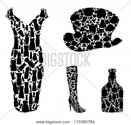 Bottles and Clothing: Hats, Shoes Collection Silhouette. Vector