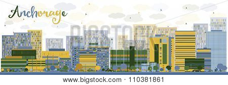 Abstract Anchorage (Alaska) Skyline with color Buildings. Business and tourism concept with place for text. Image for presentation, banner, placard and web site