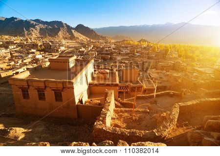 Landscape view of Leh city in falls, the town is located in the Indian Himalayas at an altitude of 3500 meters, North India