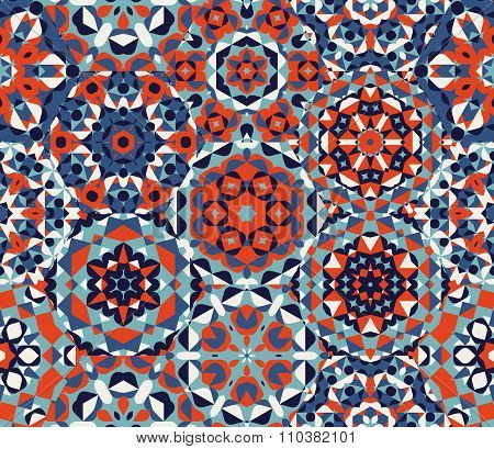 Vector Seamless Red Blue One Block Wonder Quilt  Ornaments Patchwork Pattern