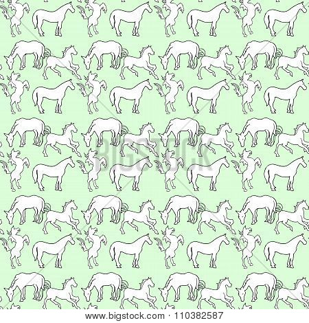 Illustration Of The Horse. Seamless Pattern. White Mustangs On A Blue Background.