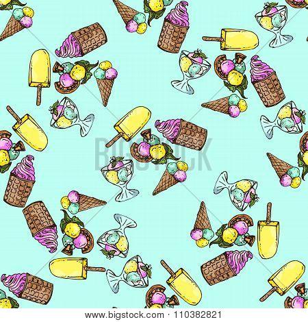 Illustration Set Of Ice Cream Assorted. Seamless Pattern.