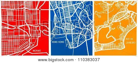 stylized map of Miami, Rio de Janeiro and Hong Kong's colors of blue red yellow to decorate a room o