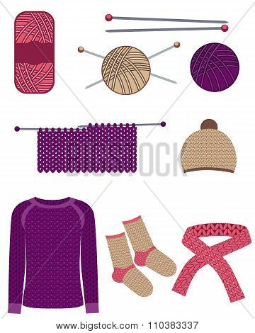 Set knitting. Knitting sweaters, socks, hat and scarf. Vector illustration