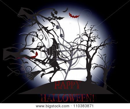 Happy halloween background with witch