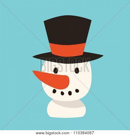 Snowman vector icon flat avatar. Snowman icon face smile isolated. Snowman icon flat style. Snowman vector design. Snowman icon isolated. Snowman Santa Christmas helper Snowman icon