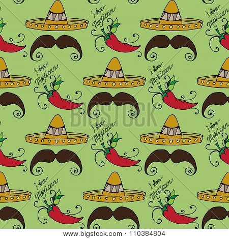 Illustration Of Mexico. Hat Sombrero And Men's Mustache. Seamless Pattern.
