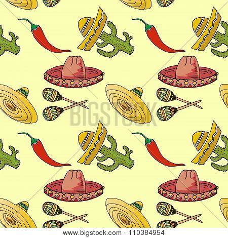 Illustration Of Mexico. Set Hat Sombrero. Seamless Pattern.