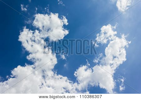 Beautiful Light Blue Sky With Puffy White Clouds
