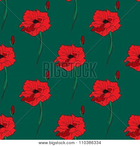 Illustration Of Alone Red Poppy. Seamless Pattern.