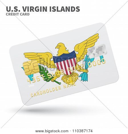 Credit card with U.S. Virgin Islands flag background for bank, presentations and business. Isolated