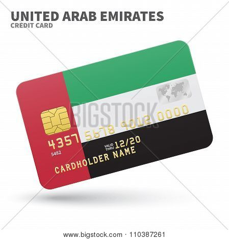 Credit card with United Arab Emirates flag background for bank, presentations and business. Isolated