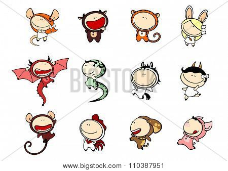 Funny kids #81 - Chinese Zodiac signs (raster version)
