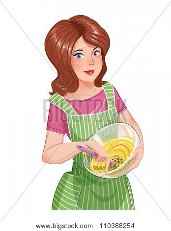 Beautiful girl cooking food. vector illustration. Isolated on white background. Transparent objects used for lights and shadows drawing.
