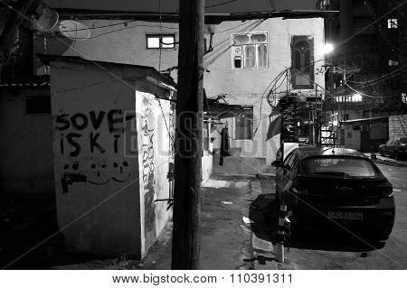 Soveiski painted on building in Sovietskaya, Baku, capital of Azerbaijan