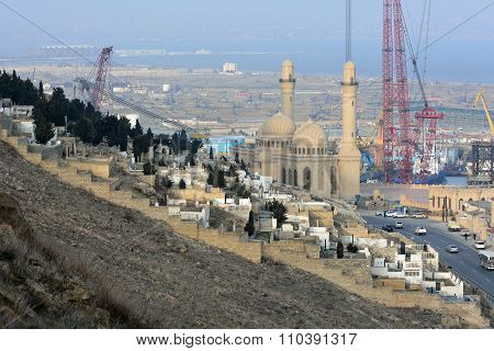 Bibi-heybat Mosque, with the shipyard, Bayil oil field and graveyard