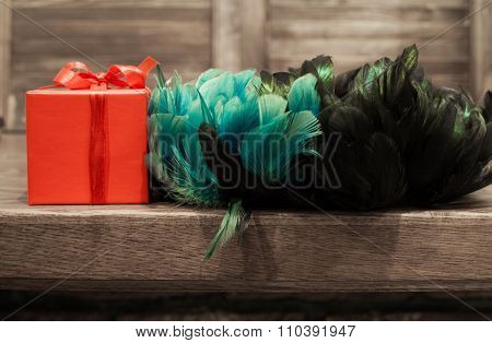 Gift In Red Box With Turquoise, Blue, Green And Black Feather From Edge Of Table