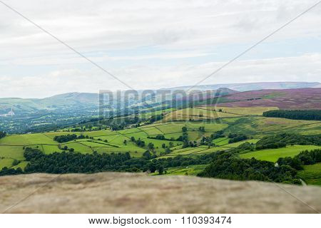 Rock And Picturesque View On The Hills From Stanage Edge, Hathersage